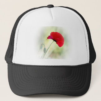"""Apron with red poppy """"Be happy!"""" Trucker Hat"""