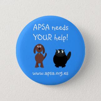 APSA Animal Protection Charity Cartoon Dog & Cat 6 Cm Round Badge
