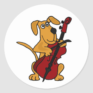 AQ- Brown Puppy Dog Playing the Cello Classic Round Sticker