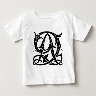 AQ-QA Black Monogram Baby T-Shirt