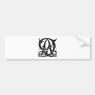 AQ-QA Black Monogram Bumper Sticker