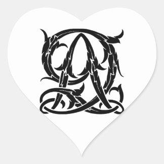AQ-QA Black Monogram Heart Sticker