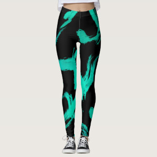 Aqua Abstract Painted Strokes on Black Leggings