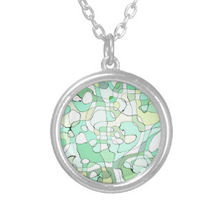 Aqua abstract silver plated necklace