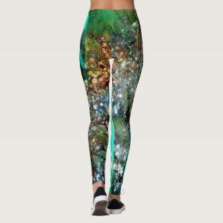 Aqua Abstract Teal Leggings