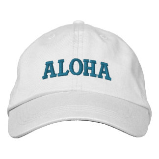 Aqua Aloha Embroidered Baseball Caps