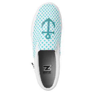 Aqua Anchor and Polka Dots Zipz Slip On Shoe Printed Shoes