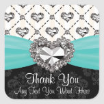 Aqua and Black Diamond Heart Thank You Labels Square Sticker