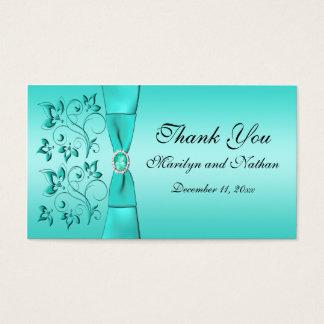 Aqua and Black Floral Wedding Favor Tag Business Card