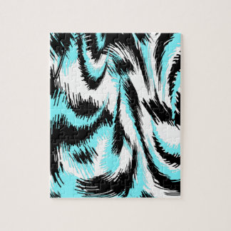 Aqua and Black Modern Art Jigsaw Puzzle
