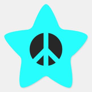 Aqua and Black Peace Symbol Star Sticker