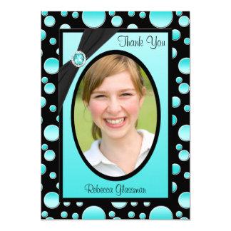 Aqua and Black Polka Dot Photo Thank You Card