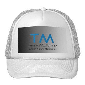 Aqua and Black Simple Initials Cap Trucker Hat