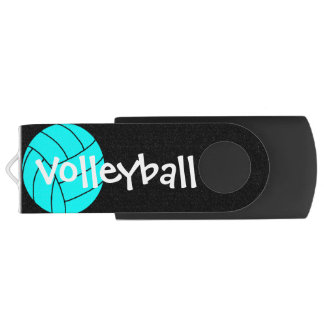 Aqua and Black Volleyball Logo USB USB Flash Drive