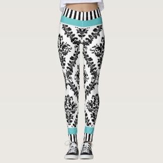 Aqua and black white damask pattern & stripes leggings