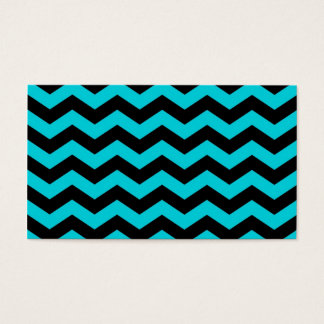 Aqua and Black Zig Zag Pattern Business Card