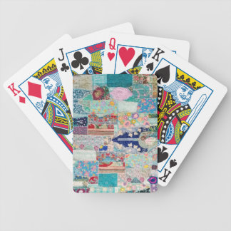 Aqua and Blue Quilt Tapestry Design Bicycle Playing Cards
