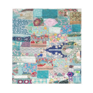 Aqua and Blue Quilt Tapestry Design Notepad