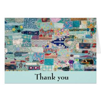 Aqua and Blues Quilt Design Thank You Card