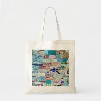 Aqua and Blues Quilt Tapestry Design Tote bag