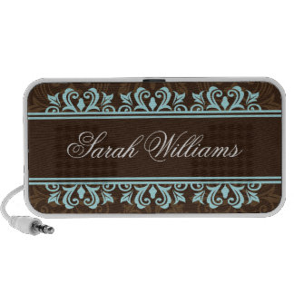 Aqua and brown damask personalized speakers