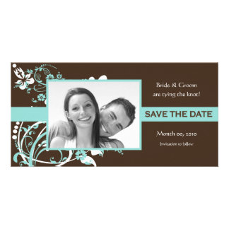 Aqua and Brown Floral Save the Date Photo Cards