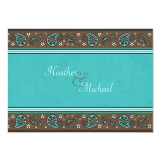 Aqua and Brown Paisley Wedding Invitation