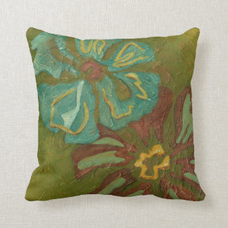 Aqua and Burnt Orange Flowers on Green Background Cushion