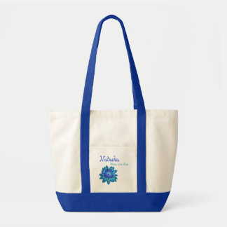 Aqua and Cobalt Blue Flower  Mother of the Bride Tote Bag