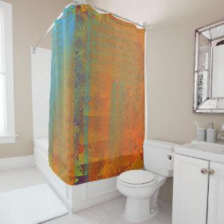 Aqua and Copper Textured Design Shower Curtain