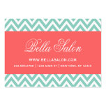 Aqua and Coral Modern Chevron Stripes Business Cards