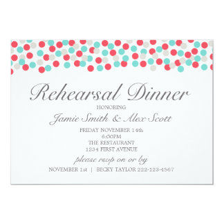 Aqua and Coral Polka Dot Rehearsal Dinner Invite