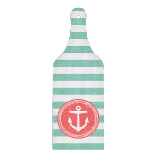 Aqua and Coral Preppy Nautical Stripes and Anchor Cutting Board