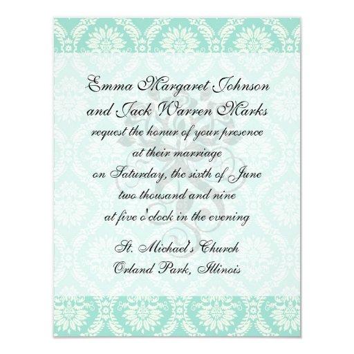 aqua and cream fleur elegant damask 11 cm x 14 cm invitation card