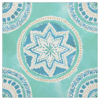 Aqua and Gold MIGHTY MEDALLION Mandala Fabric