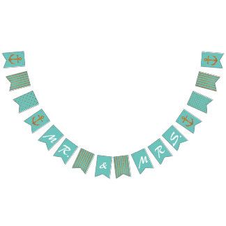 Aqua and Gold Nautical Wedding Bunting Bunting