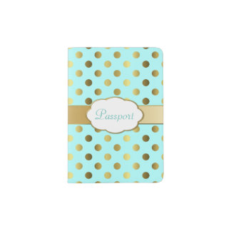 Aqua and Gold Polka Dot Passport Holder