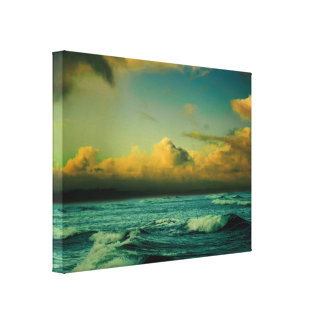 Aqua and Gold Tone Ocean Scene Canvas Print