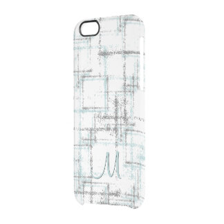aqua and gray abstract squares clear iPhone 6/6S case