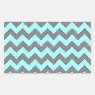 Aqua and Gray Zigzag Rectangular Sticker