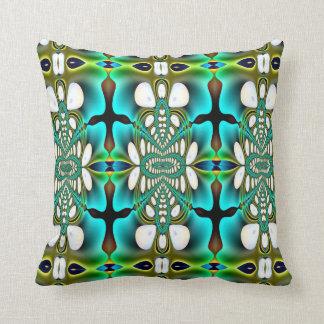 Aqua and Green Abstract American MoJo Pillow