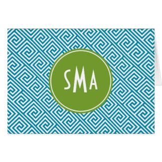 Aqua and Green Greek Key Pattern Monogram Card