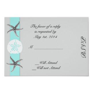 Aqua and Grey Band Starfish Response Card 9 Cm X 13 Cm Invitation Card