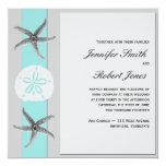 Aqua and Grey Band Starfish Wedding 13 Cm X 13 Cm Square Invitation Card