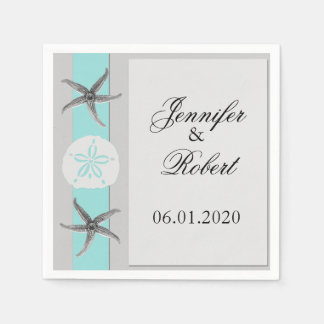 Aqua and Grey Band Wedding Napkin Paper Napkins