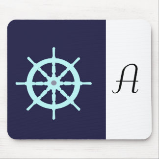 Aqua and Grey Ship s Wheel Mousepad