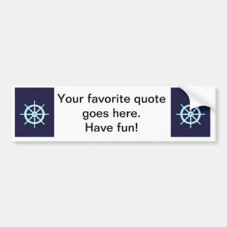 Aqua and Grey Ship's Wheel. Car Bumper Sticker