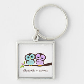 Aqua and Lavender Owls Silver-Colored Square Key Ring
