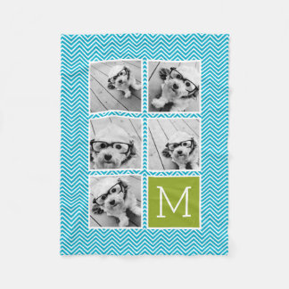 Aqua and Lime Instagram 5 Photo Collage Monogram Fleece Blanket