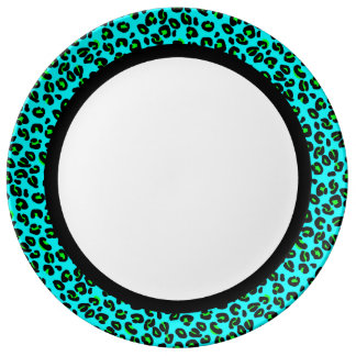 Aqua and Lime Leopard with Black Band on White Porcelain Plates